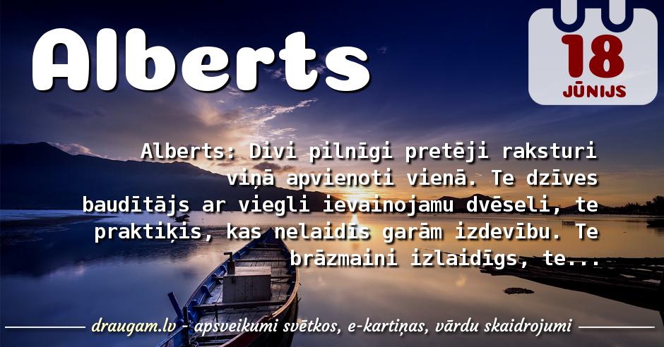 Alberts skaidrojums un vārda diena