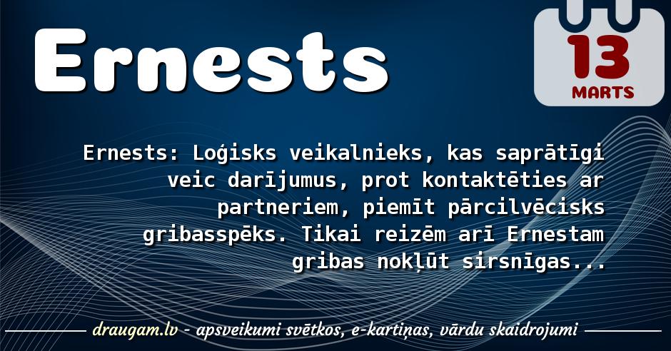 Ernests skaidrojums un vārda diena