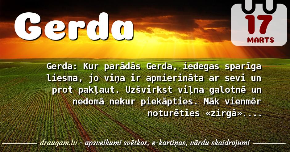 Gerda skaidrojums un vārda diena
