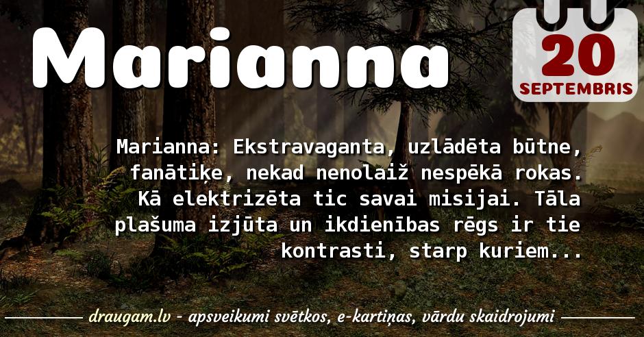 Marianna skaidrojums un vārda diena