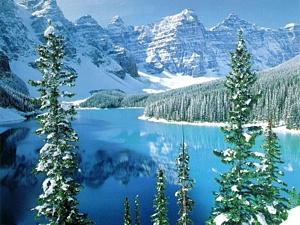 Kalnu ezers ziemā - Ziemas kartiņa 3